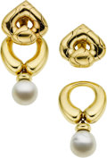 Estate Jewelry:Earrings, South Sea Cultured Pearl, Gold Earrings, Marina B. ...