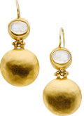 Estate Jewelry:Earrings, Moonstone, Gold Earrings. ...