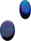 Estate Jewelry:Unmounted Gemstones, Unmounted Black Opals. ... (Total: 2 Items)