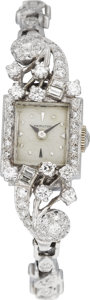 Estate Jewelry:Watches, Hamilton Lady's Diamond, White Gold Wristwatch, circa 1950. ...