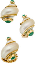 Estate Jewelry:Suites, Shell, Emerald, Gold Jewelry Suite, Seaman Schepps. ...
