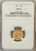 Liberty Quarter Eagles: , 1851 $2 1/2 MS61 NGC. NGC Census: (145/275). PCGS Population(34/159). Mintage: 1,372,748. Numismedia Wsl. Price for proble...