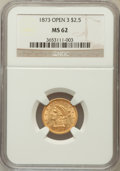 Liberty Quarter Eagles: , 1873 $2 1/2 Open 3 MS62 NGC. NGC Census: (186/168). PCGS Population(118/161). Mintage: 122,800. Numismedia Wsl. Price for ...