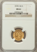 Liberty Quarter Eagles: , 1878-S $2 1/2 MS61 NGC. NGC Census: (139/168). PCGS Population(38/117). Mintage: 178,000. Numismedia Wsl. Price for proble...