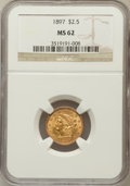 Liberty Quarter Eagles: , 1897 $2 1/2 MS62 NGC. NGC Census: (256/529). PCGS Population(251/506). Mintage: 29,700. Numismedia Wsl. Price for problem ...