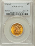 Liberty Half Eagles: , 1901-S $5 MS62 PCGS. PCGS Population (1422/2613). NGC Census:(1971/2907). Mintage: 3,648,000. Numismedia Wsl. Price for pr...