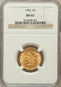 Liberty Half Eagles: , 1902 $5 MS62 NGC. NGC Census: (510/390). PCGS Population (288/329).Mintage: 172,400. Numismedia Wsl. Price for problem fre...