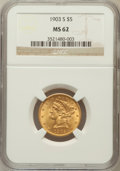 Liberty Half Eagles: , 1903-S $5 MS62 NGC. NGC Census: (1138/1835). PCGS Population(850/1794). Mintage: 1,855,000. Numismedia Wsl. Price for prob...