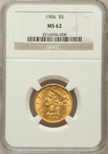 Liberty Half Eagles: , 1906 $5 MS62 NGC. NGC Census: (1012/682). PCGS Population(523/661). Mintage: 348,700. Numismedia Wsl. Price for problemfr...