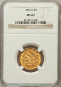Liberty Half Eagles: , 1906-D $5 MS62 NGC. NGC Census: (862/1003). PCGS Population(612/877). Mintage: 320,000. Numismedia Wsl. Price for problem ...