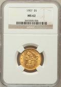 Liberty Half Eagles: , 1907 $5 MS62 NGC. NGC Census: (3289/2960). PCGS Population(1832/2411). Mintage: 626,192. Numismedia Wsl. Price for problem...