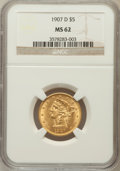 Liberty Half Eagles: , 1907-D $5 MS62 NGC. NGC Census: (1417/1459). PCGS Population(941/1507). Mintage: 888,000. Numismedia Wsl. Price for proble...