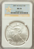 Modern Bullion Coins, 2007-W $1 Silver Eagle West Point MS70 NGC. NGC Census: (11178).PCGS Population (2762). Numismedia Wsl. Price for problem...
