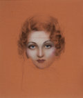 Pin-up and Glamour Art, Attributed to ROLF ARMSTRONG (American, 1889-1960). Study of aWoman, possible Movie Mag cover. Pastel and charcoal on b...