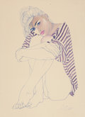 Pin-up and Glamour Art, ROBERT D. BLUE (American, 1946-1998). Pin-Up in a StripedShirt. Pen on paper. 30 x 22 in.. Signed lower right. ...