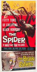 """Movie Posters:Horror, The Spider/The Brain Eaters Combo (American International, 1958). Three Sheet (41"""" X 80"""").. ..."""