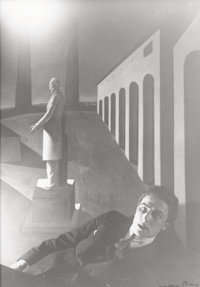 MAN RAY (American, 1890-1976) Portrait of André Breton (in Front of Giorgio Chirico's Painting 'The Enigma of D...