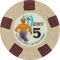 Miscellaneous:Gaming Chips, Dunes $5 Las Vegas Casino Chip, 1st Issue, R-9. ...