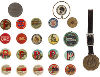 Ammo Advertising Pins: Lot of Twenty-Three, Including Dead Shot, Peters Infallible, UMC, Du Pont, Hunter Arms and Wester...
