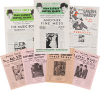 A Stan Laurel Personally-Owned Collection of 'Laurel & Hardy' Press Sheets, 1930s