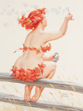 Pulp, Pulp-like, Digests, and Paperback Art, DUANE BRYERS (American, 1911-2012). Hilda Blowing Bubbles.Gouache on board. 16 x 11.75 in. (image). Signed lower right...