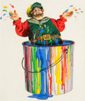 Mainstream Illustration, BIRNEY LETTICK (American, 1919-1986). Falstaff in a Lacquer Pot,Shell Chemical Corporation advertisement, 1957. Acrylic...(Total: 2 Items)