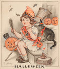 Mainstream Illustration, FLORENCE PEARL ENGLAND NOSWORTHY (American, 1872-1936).Halloween Spirits, Hearth and Home magazine cover.Watercolor on...