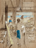 Mainstream Illustration, Attributed to STEVAN DOHANOS (American, 1907-1994). Study of aBeach Front Restaurant. Watercolor on board. 19.5 x 15 in...