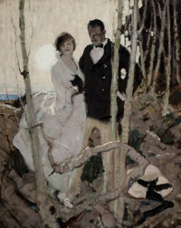 Attributed to DEAN CORNWELL (American, 1892-1960) Moonlit Couple, circa 1920 Oil on canvas 30 x 2