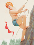 Pin-up and Glamour Art, DUANE BRYERS (American, 1911-2012). Hilda Rock Climbing,hardware calendar illustration, circa 1960s. Watercolor onboar...
