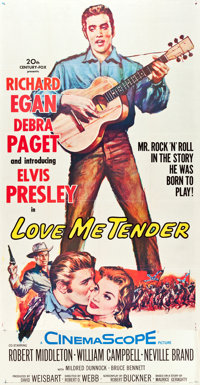 "Love Me Tender (20th Century Fox, 1956). Three Sheet (40.5"" X 78.5"")"