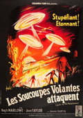 """Movie Posters:Science Fiction, Earth vs. the Flying Saucers (Columbia, 1956). French Grande (47"""" X63"""").. ..."""