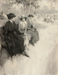Mainstream Illustration, FREDERICK COFFAY YOHN (American, 1875-1933). Ladies Chatting inthe Park. Oil on canvas. 28 x 22 in.. Signed lower left...