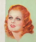 Pin-up and Glamour Art, F. EARL CHRISTY (American, 1882-1961). Jean Harlow, Red-HeadedWoman, Photoplay magazine cover, August 1932. Pastel on b...