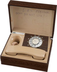 Elvis Presley Owned and Used Personal Rotary Phone and Wooden Box (1970s)