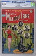 "Golden Age (1938-1955):Miscellaneous, Miss Melody Lane of Broadway #3 Davis Crippen (""D"" Copy) pedigree (DC, 1950) CGC VF 8.0 Off-white pages. Ed Sullivan photo o..."