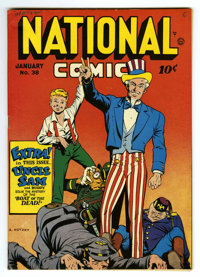 National Comics #38 Mile High pedigree (Quality, 1944) Condition: VF/NM. Uncle Sam, Hitler, Tojo, and Mussolini cover. O...