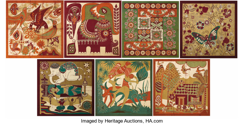 check out 4debd 33e67 A Group of Seven Sri Lankan Batik Panels. Workshop of Ena de ...