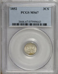 Three Cent Silver: , 1852 3CS MS67 PCGS. PCGS Population (11/2). NGC Census: (12/0).Mintage: 18,663,500. Numismedia Wsl. Price for NGC/PCGS coi...