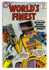 World's Finest Comics #99 (DC, 1959) Condition: FN+. Jack Kirby art in Green Arrow story. Curt Swan cover. Dick Sprang...