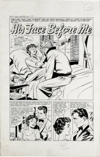 "Matt Baker and Vince Colletta (attributed) - Romance Stories of True Love #51, Complete 5-page story ""His Face Befo..."