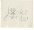 "Animation Art:Production Drawing, Walt Disney Studios - ""Pluto's Elephant"" Animation ProductionDrawing Original Art (Disney, 1940s). Mickey's best friend and..."