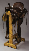 Western Expansion:Cowboy, AL FURSTNOW MAKER, MILES CITY, MONTANA SADDLE ca. 1900-1920 -Square skirted; double rigged; well marked in 4 spots. . ...