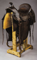 Western Expansion:Cowboy, S.C. GALLUP SADDLE, PUEBLO, COLORADO ½ SEAT ca. 1890's - Squareskirts with built-in saddle pockets; Cheyenne roll; Sam Stag...