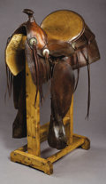 Western Expansion:Cowboy, LADIES ASTRIDE SADDLE MADE BY BRYDON BROTHERS, LOS ANGELES,CALIFORNIA - Padded and stitched seat; square skirts; small orig...