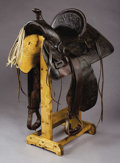 Western Expansion:Cowboy, F.A. MEANEA CHEYENNE, WYOMING SADDLE ca.1900 - Full double rigged,square skirts; Initials 'WPB' stamped on inside cantle; L...