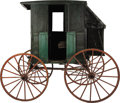 Western Expansion:Cowboy, RURAL FRONTIER BUGGY ca. 1900 - The green rural (possible maildelivery) buggy has a small box, for one person, mounted on r...