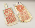 American Indian Art:Beadwork, A PAIR OF PLAINS QUILLED AND BEADED HIDE CARD CASES. . c. 1890. ...(Total: 2 Items)
