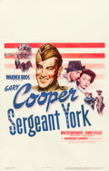 "Movie Posters:War, Sergeant York (Warner Brothers, 1941). Window Card (14"" X 22"")....."