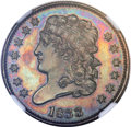 Proof Classic Head Half Cents, 1833 1/2 C PR65 Brown NGC. C-1, B-1, R.5 as a Proof....